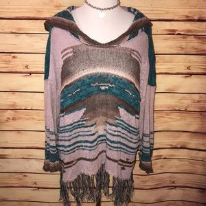 Free People Navajo Dean Fringe Poncho Sweater